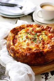 egg strata casserole cheese and bacon breakfast strata cake bread bake recipetin eats