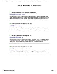 mazda 323 astina repair manual