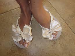 seashell flip flops bridal flip flops wedding flip flops bridal bowz flip flops ivory