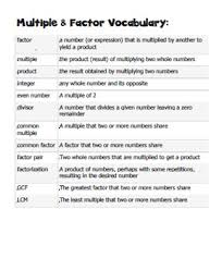 grade factors and multiples projects patterns u0026 vocabulary