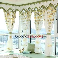 Bay Window Valance Three Dimensional Embroidered Floral Pattern Decorative Bay Window