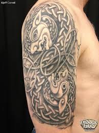 black and grey celtic half sleeve hidden hand tattoo seattle wa