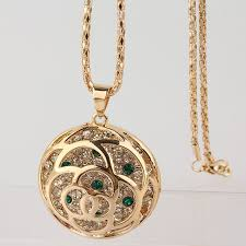 round pendants necklace images 18k gold plated austrian crystal round pendant necklace chain jpg