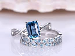 jewelry topaz rings images Topaz ring set 6x8mm emerald cut blue topaz engagement ring with jpg