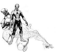 spider man sketch and a robot by rawbot on deviantart
