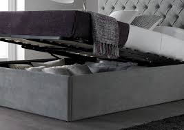 maxi steel grey upholstered ottoman storage bed frame only king