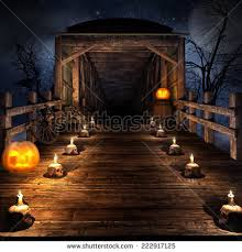 wooden bridge on night halloween candles stock illustration