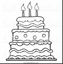 Remarkable Black And White Birthday Cake Clip Art With Cake Birthday Cake Coloring Pages