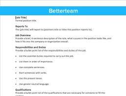Position Description Template free description template fast simple copy paste