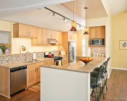 Light Maple Kitchen Cabinets Cabinets Modern Kitchen With Custom Blown Pendant Lights