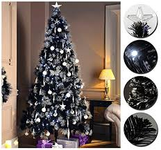 luxury pre lit pencil slim black tree w white blue 80