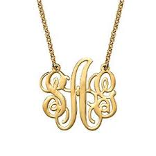 monogram necklace gold fancy sterling silver monogram necklace in 18k gold plating my