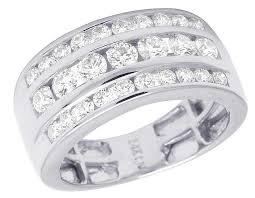 mens 14k white gold wedding bands men s 14k white gold real diamond three row channel wedding band