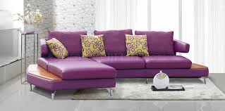 Purple Sectional Sofa Purple Genuine Italian Leather Modern Sectional Sofa W Shelves