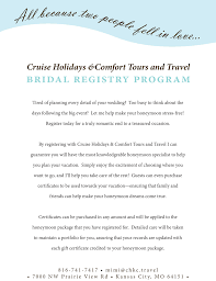 cruise wedding registry honeymoon registry