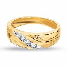 gold mens wedding bands men s 1 8 ct t w diamond three wedding band in 10k gold