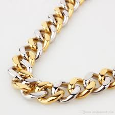 silver gold chain necklace images 2018 top design 316l stainless steel silver gold curb cuban chain jpg