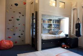 bedroom sporty decor for teen boy room with climbing wall also