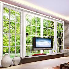 online get cheap scenery wall murals aliexpress com alibaba group custom photo wallpaper 3d stereoscopic green windowsill scenery large wall murals wall painting living room bedroom