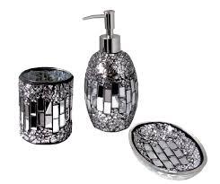 3pc Modern Silver Black Sparkle Mosaic Glass Tile Bathroom