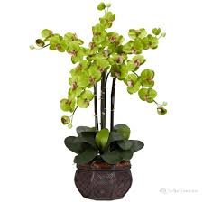 home decoration green silk orchid fake floral arrangements
