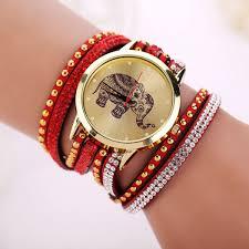 ladies leather strap bracelet images Fashion women leather strap quartz crystal bow bracelet chain jpg