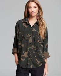 camo blouse lyst sanctuary big camo shirt in green