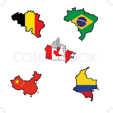 colombia map vector illustration of flag in map of belgium brazil canada china