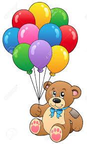 teddy balloons teddy holding balloons vector illustration royalty