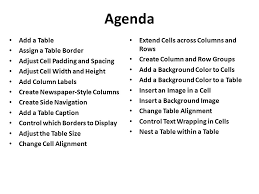 Table Cell Spacing Chapter 5 Working With Tables Agenda Add A Table Assign A Table