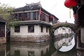 famous water village zhouzhuang in jiangsu china the houses