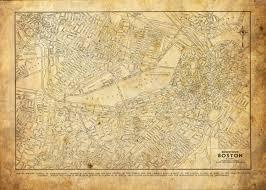 Boston Street Map 1944 Boston Street Map Vintage Sepia Grunge Print Poster