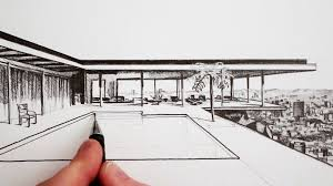 Drawing Of A House With Garage How To Draw A Modern House Time Lapse Youtube