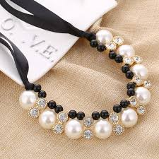 big pearl choker necklace images Lace chain choker necklace hi end vivi big imitation pearl jpg