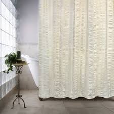 Black And White Vertical Striped Shower Curtain Ivory U0026 Cream Ruffled Shower Curtains You U0027ll Love Wayfair