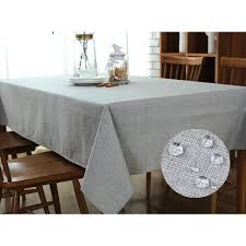 tablecloth for oval dining table grey linen cotton tablecloth wipe clean rectangle waterproof