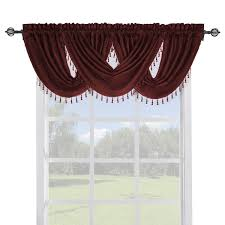 Burgundy Curtains With Valance Soho Faux Silk Curtain Panels Or Waterfall Valance Single