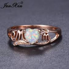 white fire rings images Junxin unique mom letter ring elegant heart white fire opal jpg