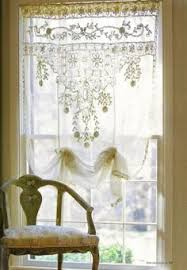 idea for shabby chic curtain topper using hankerchiefs home