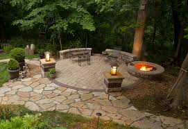 awesome outdoor patio ideas with brick fire pit ideas build a
