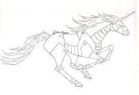 robot unicorn line art by kdougfang on deviantart
