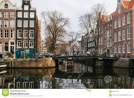view of traditional houses in amsterdam netherlands europe sunset