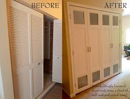 Vented Bifold Closet Doors Glued And Nailed Base Trim Mdf And Perforated Metal To My