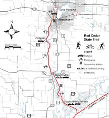 Wisconsin State Map Day Hiking Trails Red Cedar State Trail Segment Offers Rapids
