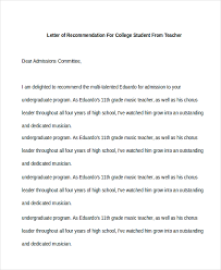 letter of recommendation for college recommendation letter