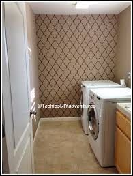 Hand Painted Wallpaper by Painted Wallpaper In Laundry Room Techie U0027s Diy Adventures