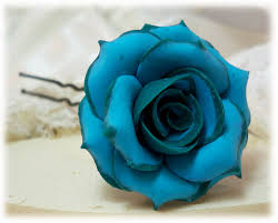 turquoise roses teal turquoise hair pins teal hair flowers tipped roses