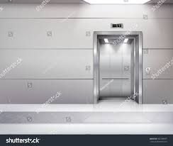 Ceiling Window by Realistic Empty Elevator Hall Interior Waiting Stock Vector