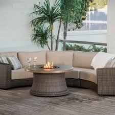 Curved Wicker Patio Furniture - agio san rafael 5 person wicker deep seating set with fire pit