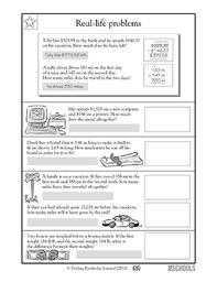 4th grade 5th grade math worksheets everyday math problems